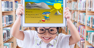 Student with their eBook