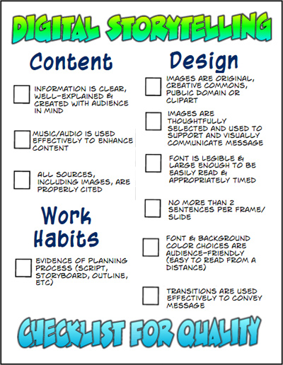 digital storytelling checklist